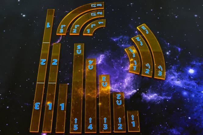 XWing 1 Manöver & Rangeruler Set (14 teilig), halbtransparent einseitig bedruckt